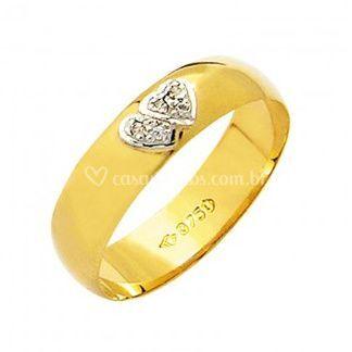 Aliança Lisa com Diamantes