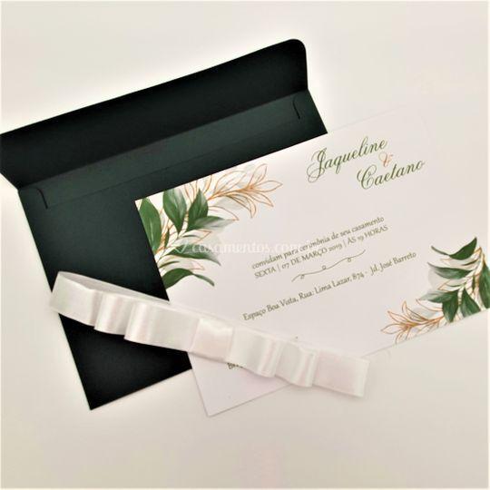 Convite com envelope e laço