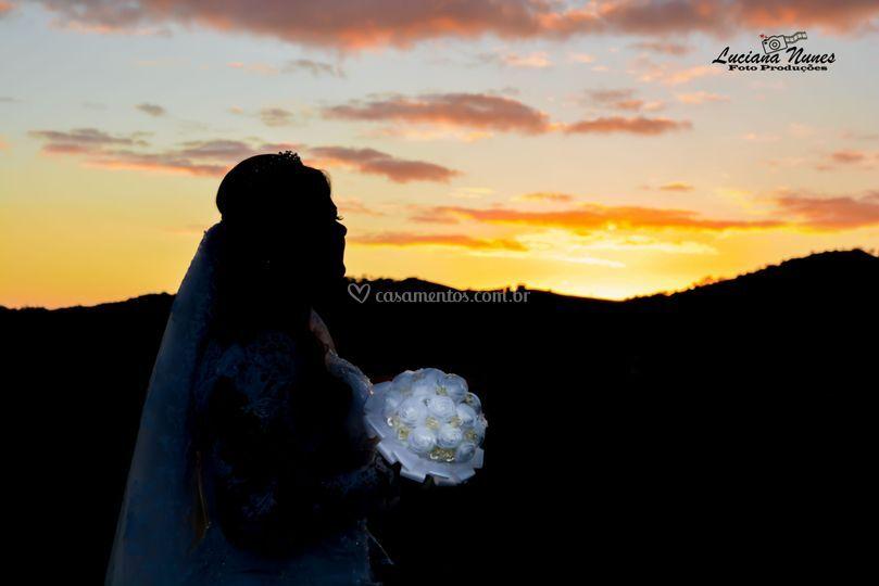 Fotos de noiva com Por do Sol
