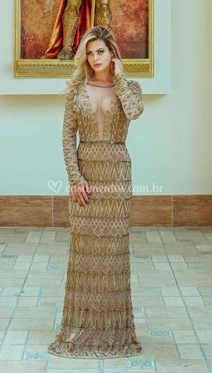 Vestido longo dourado,manga662