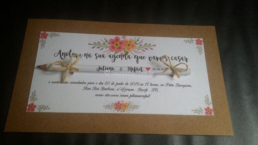 Convite de casamento com lápis