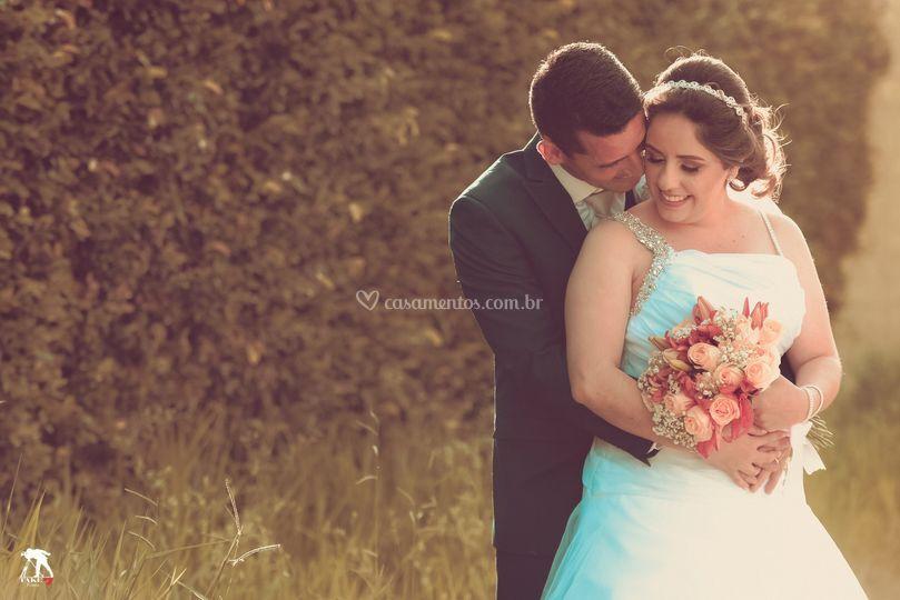 Carinho de casal de noivos