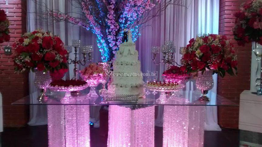 Iluminação mesa do bolo