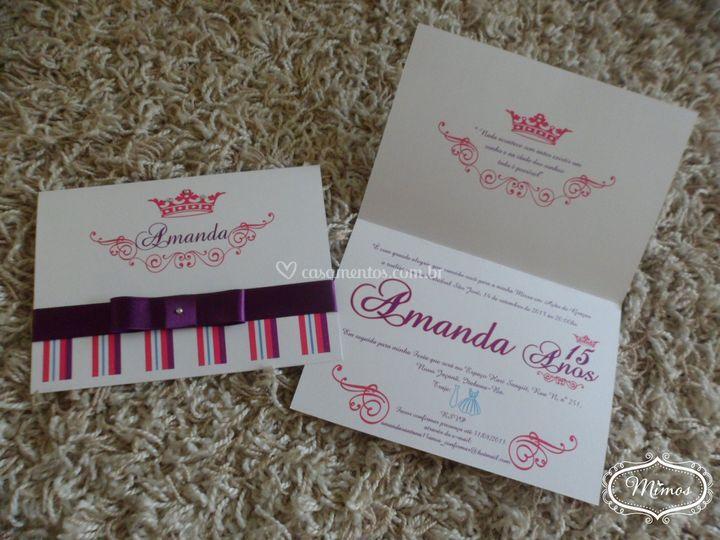 Convite Amanda Pink e roxo