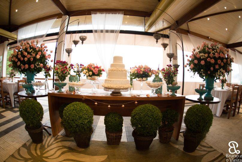 Mesa/decoração/flores