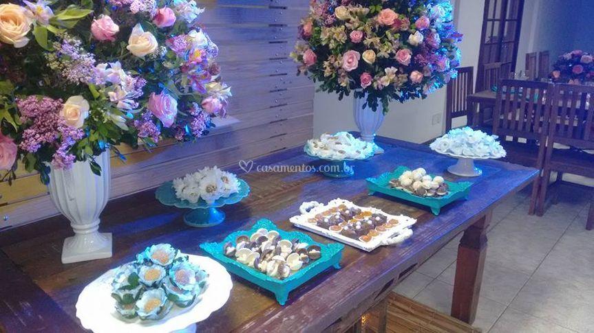 Decoração, bolo, doce, buffet