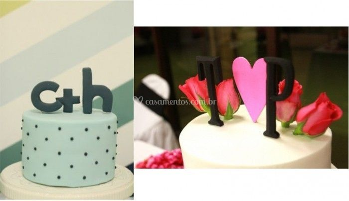 Topo de bolo com letras