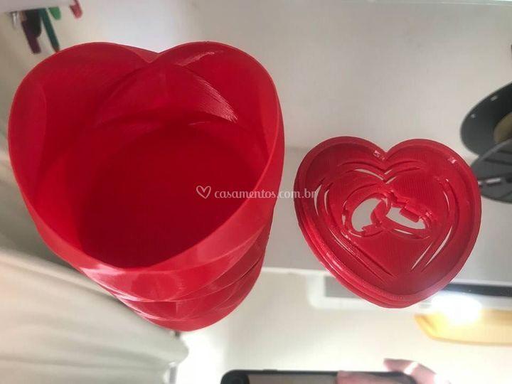 Caixa em forma de coração