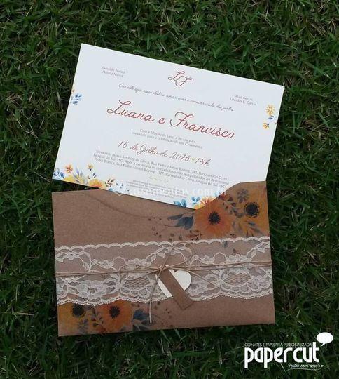 Convite Rústico + Floral