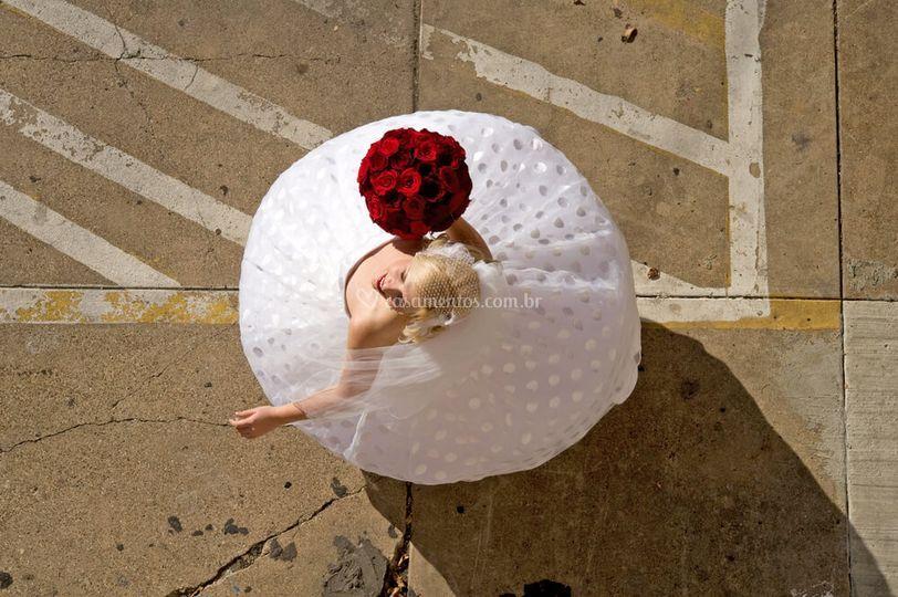 Foto aérea da noiva