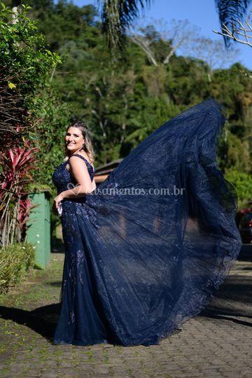 Vestido azul Marinho com cauda