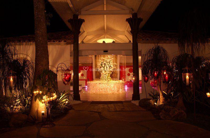 A recepção decorada