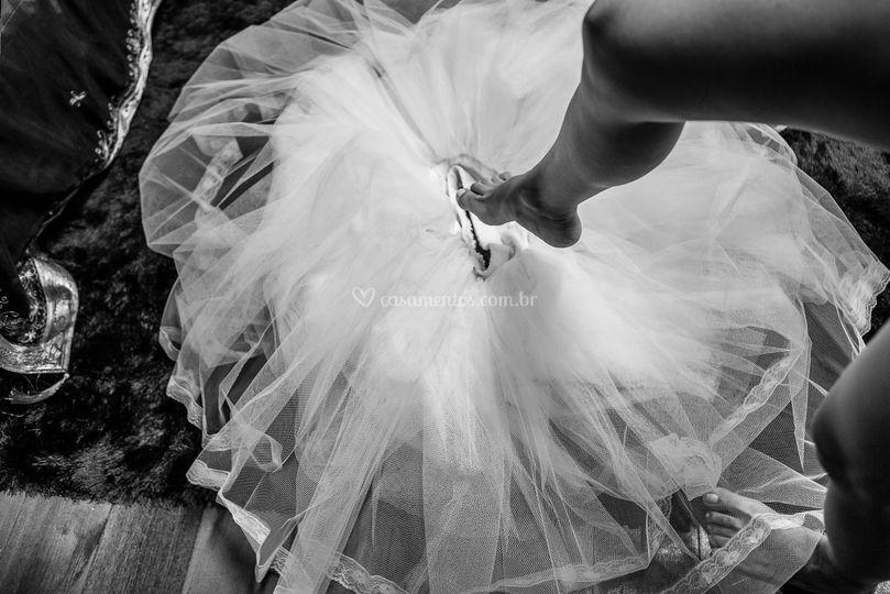 Colocando o vestido