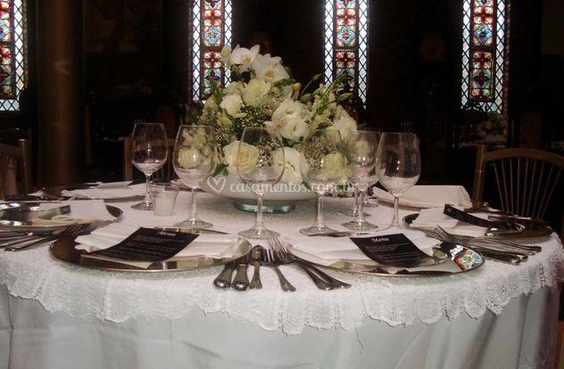 Detalhes do toalha de mesa e centrotavolo