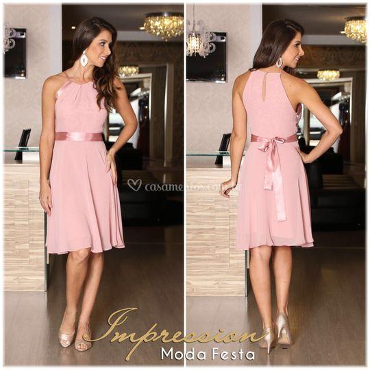 Vestido de festa curto rose