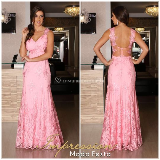 Vestido de festa rose apliques