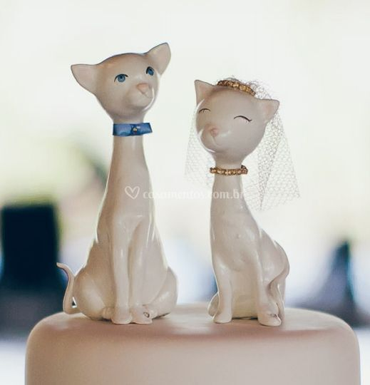 Topo de bolo casal de gatinhos