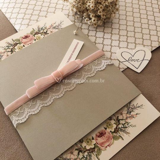 Convite floral rosê