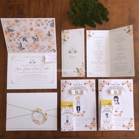 Convite floral pessego