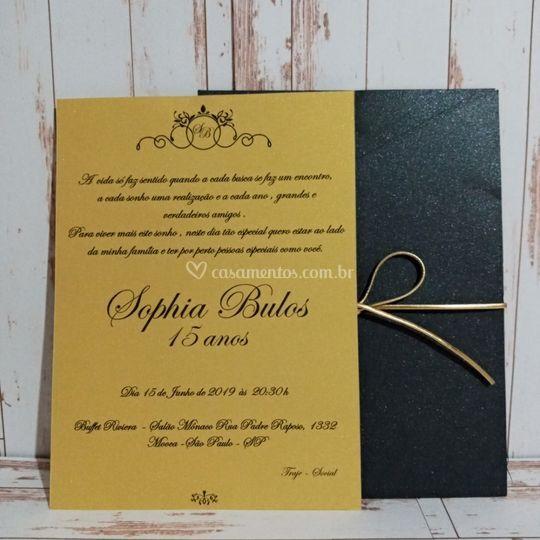 Convite 15 anos Dourado