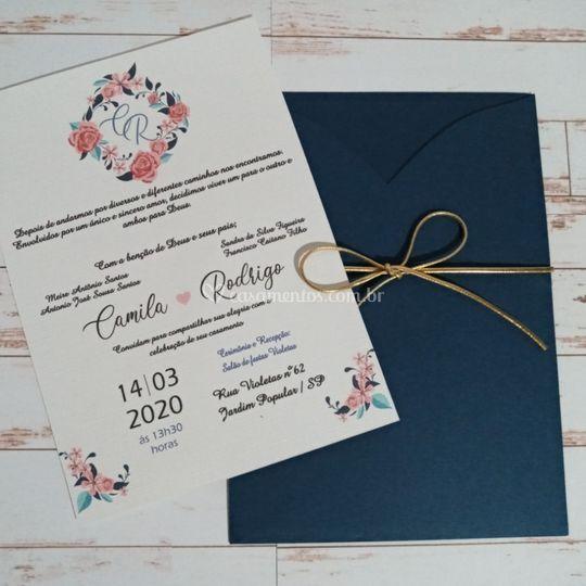 Convite Azul Marinho com Flora
