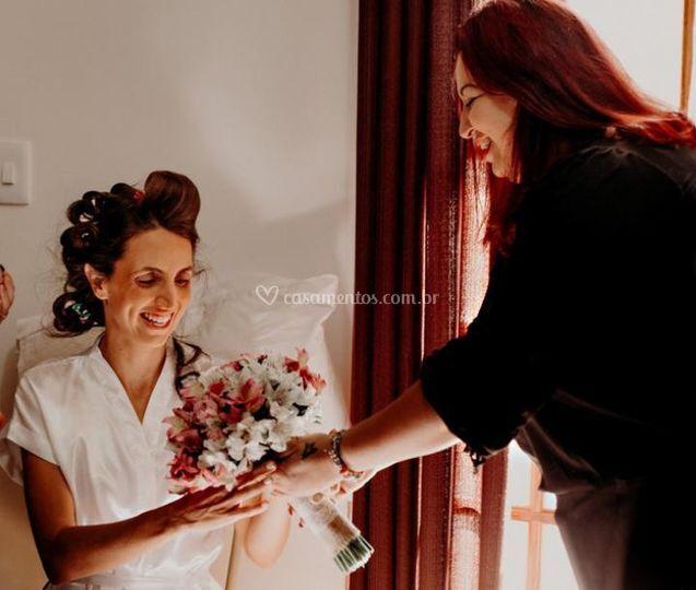 A entrega do bouquet
