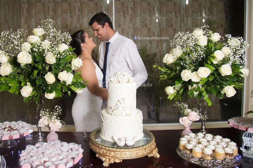 Mesa do bolo e doces
