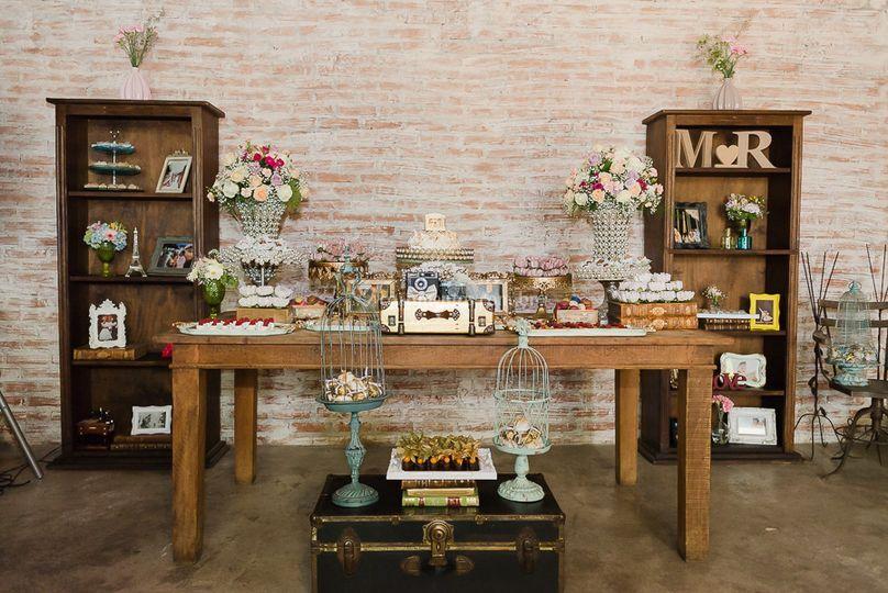 Área interna mesa bolo