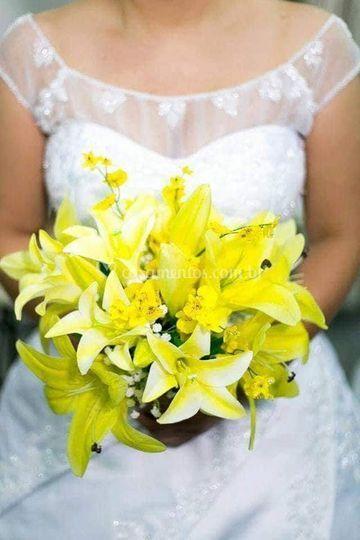 Bouquet de lírios e orquideas