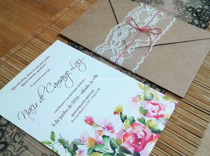 Convite com envelope kraft