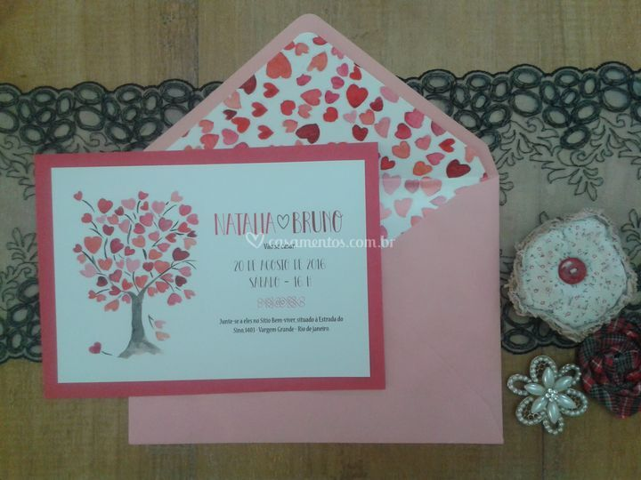Convite com envelope decorado