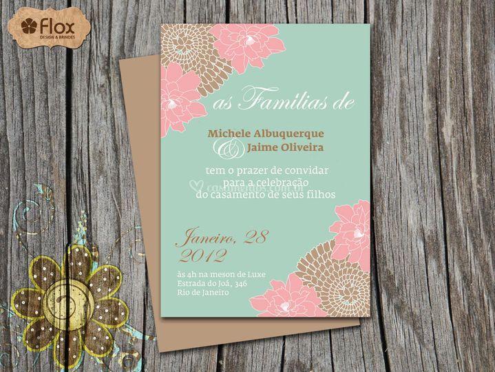 Convite Verde Menta e Rosa