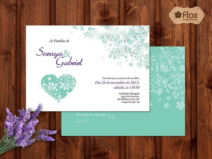 Convite Verde menta e lilás