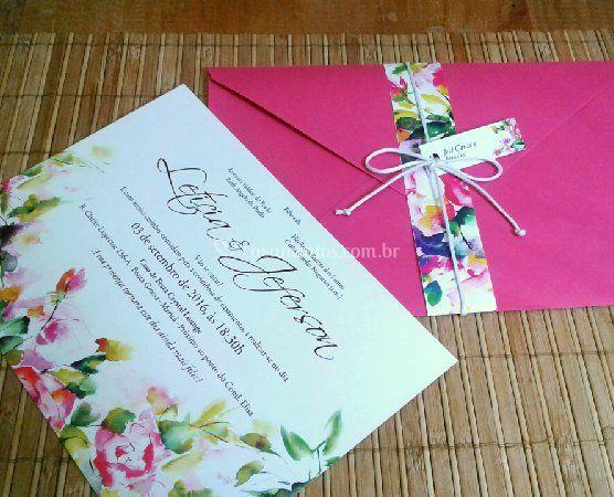 Convite envelope, cinta e tag