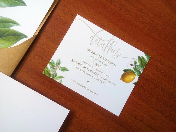 Informações Extras do Convite