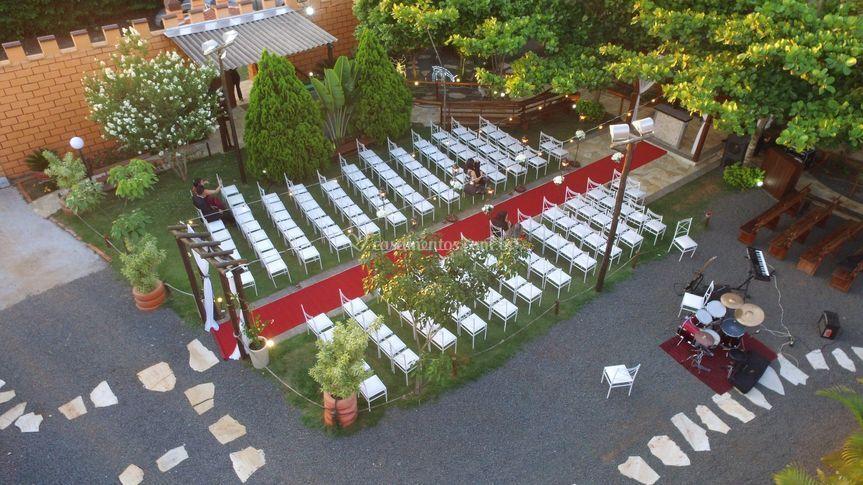 Vista aérea da cerimônia de dia