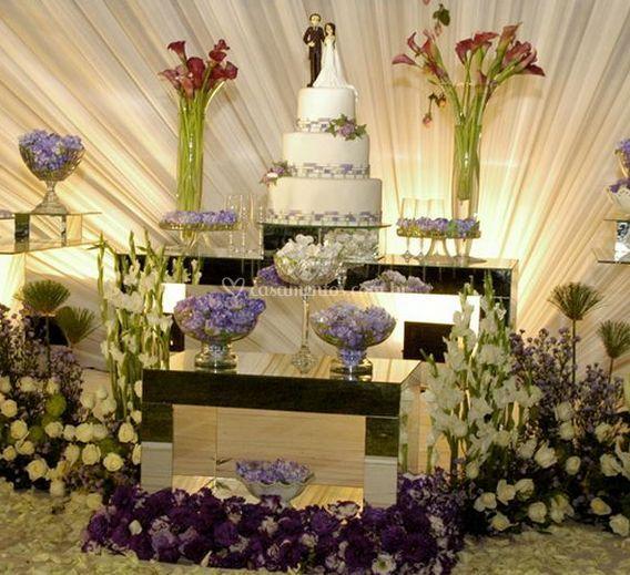 Decoração de mesa de bolo