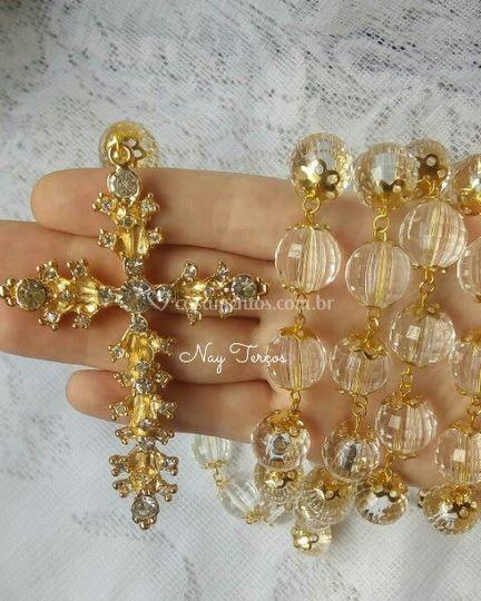 Terço de cristal dourado