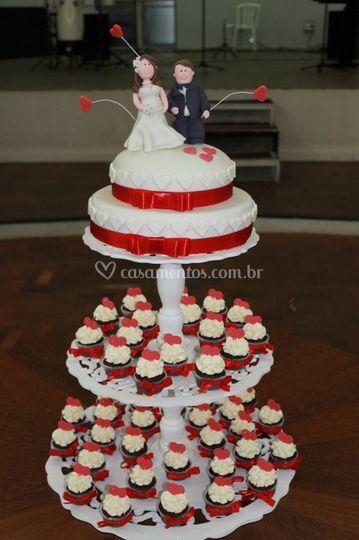 Torre de mini cupcakes