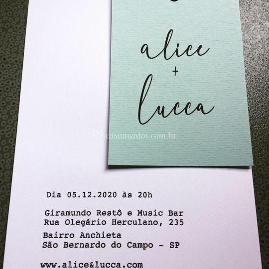Convite Alice e Lucca