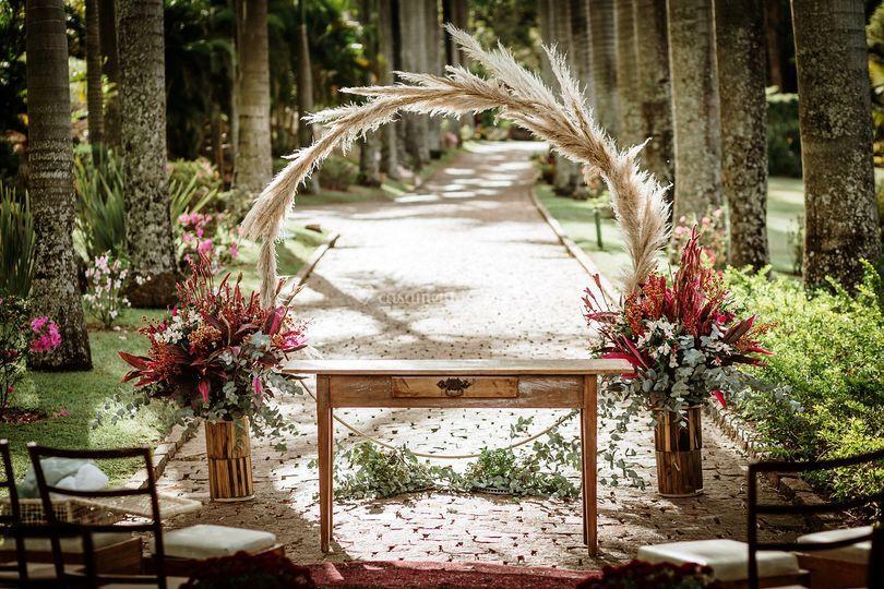 Altar casamento ao ar livre
