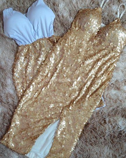Vestido de paetê dourado