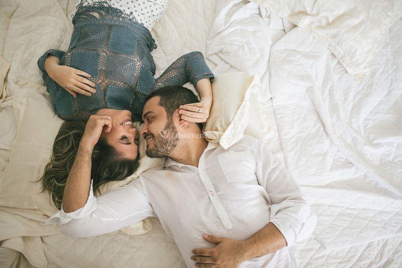 Ensaio de casal em casa