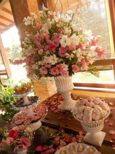Decoração tons  rosa e branco