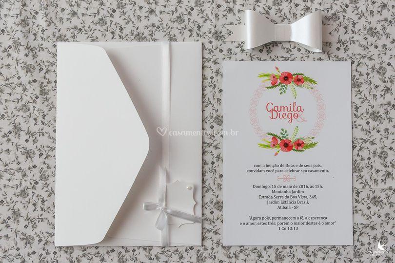 Convite simples branco
