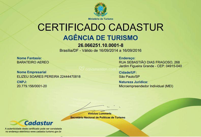 Certificado Embratur Cadastur