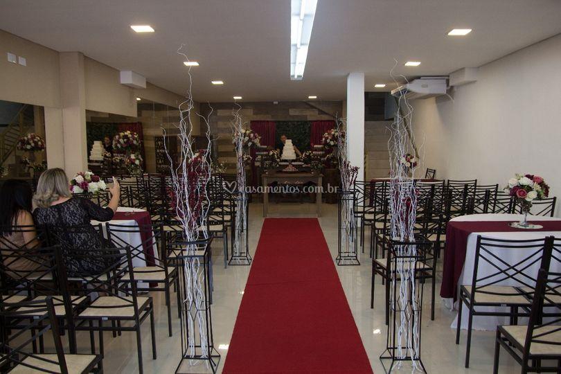 Salão preparado para casamento