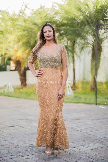 Vestido Nude- Dourado