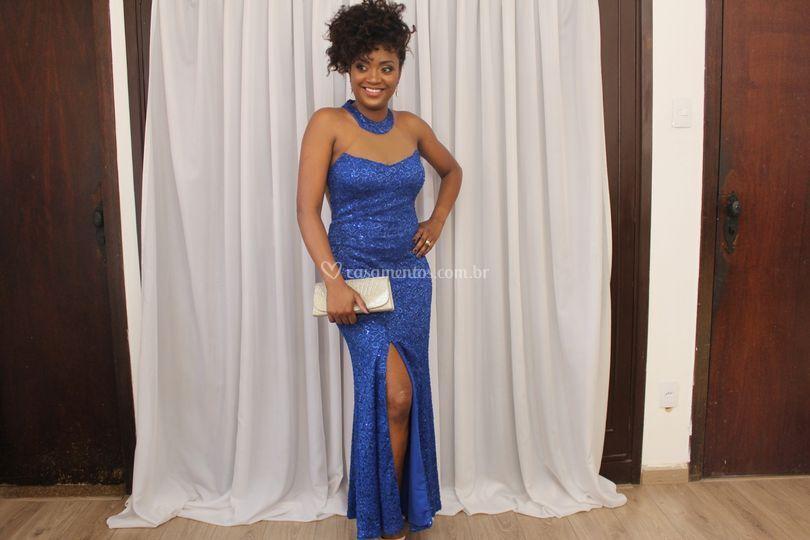 Vestido com fenda- Azul