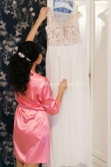 Robe de cetim para Noiva